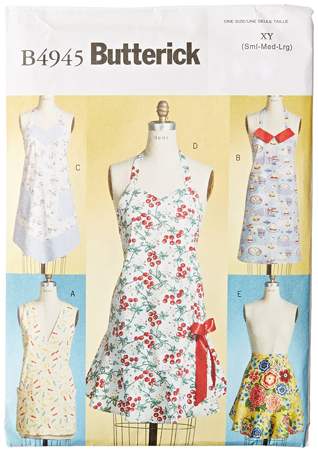 White Butterick Patterns B5474 All Sizes Pack of 1 Aprons