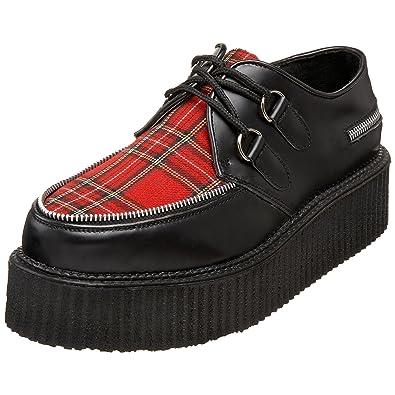 Demonia Mens Loafers Creeper-406 black leather/plaid Size 3.5 UK