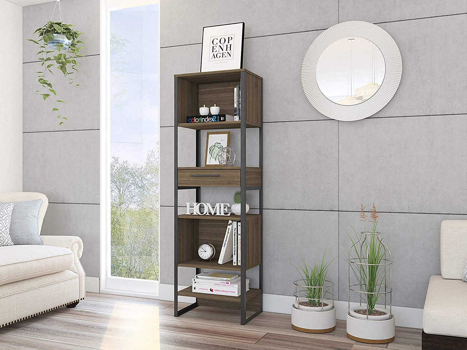 TUHOME Magnum Collection Industrial Bookcase with Metal Frame 5 Shelves and 1 Drawer. Easy to Assemble