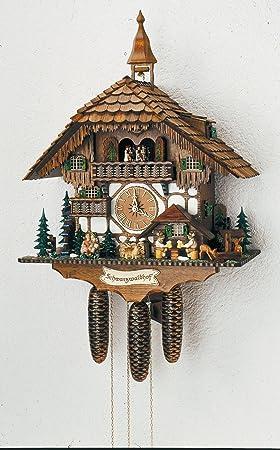 Alemán Reloj de cuco - estilo Chalet - mecanismo con cuerda para 8 días - 60 cm - Auténtico reloj de cuco del bosque negro - de Anton Schneider: Amazon.es: ...