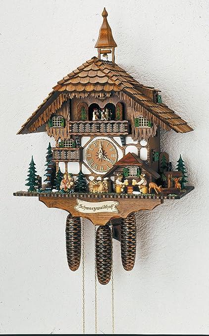 Alemán Reloj de cuco - estilo Chalet - mecanismo con cuerda para 8 días - 60