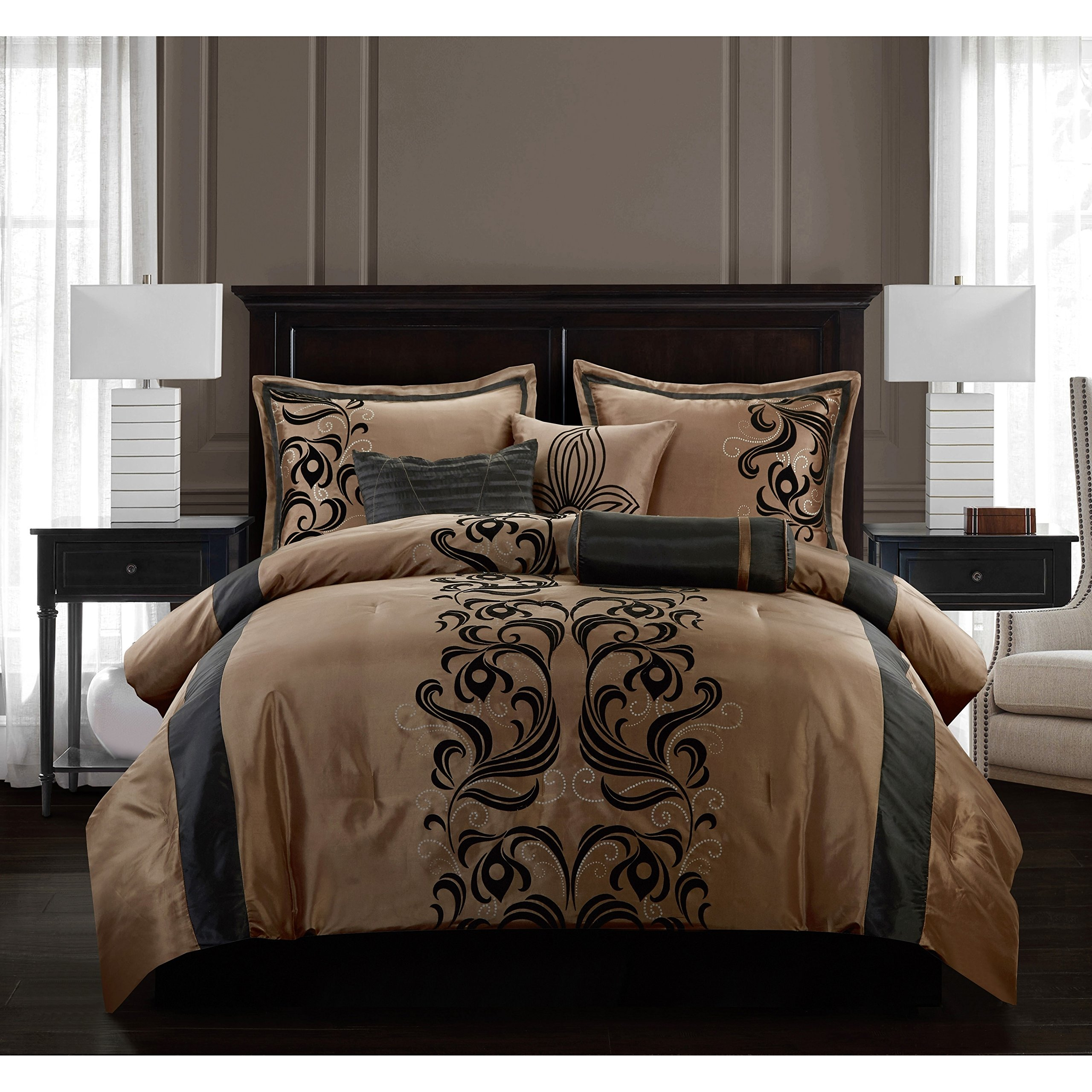Nanshing America Madeline 7 Piece Bedding Set, Full, Bronze/Black