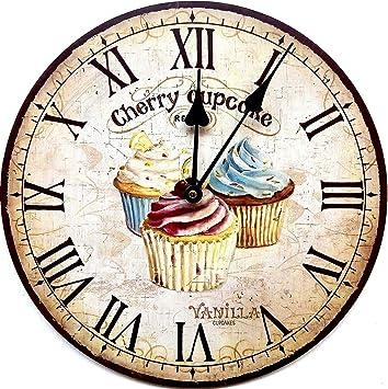 orologio da parete cupcakes cifre romani shabby look 30 cm per cucina o salotto nuovo