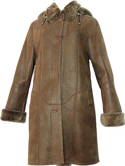 PELLI GOLD Manteau 34 Cuir Peau lainée 100% Mouton retourné véritable Taille 40