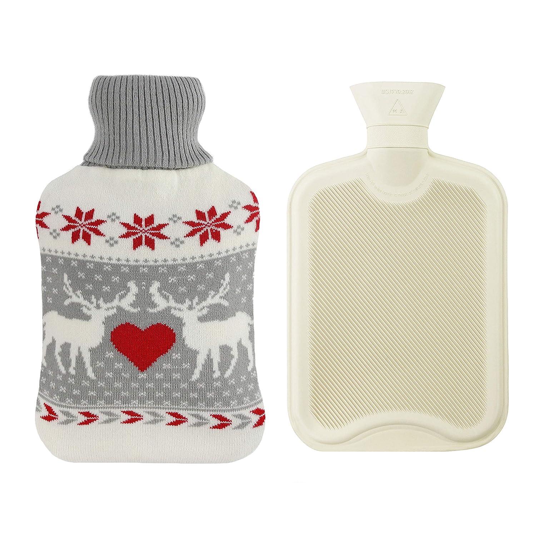 Athoinsu 2L Premium Classic Rubber Hot Water Bottle with Beautiful Deer & Heart Knit Cover Winter Gift for Kids Girls Women, 12.5''