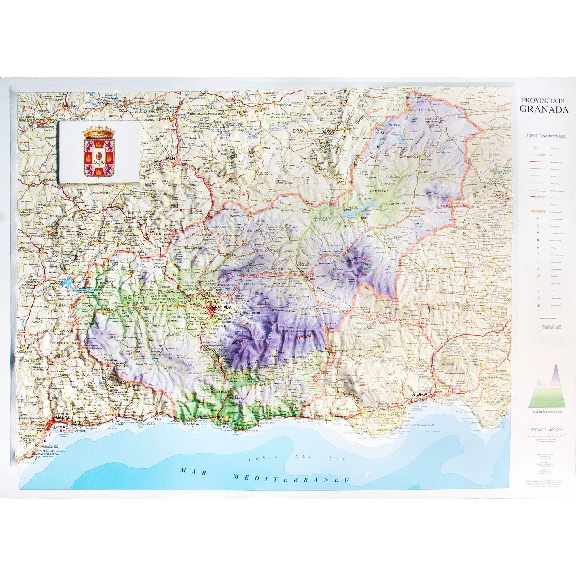 Mapa en relieve de Granada: Escala 1:400.000: Amazon.es: All 3D ...