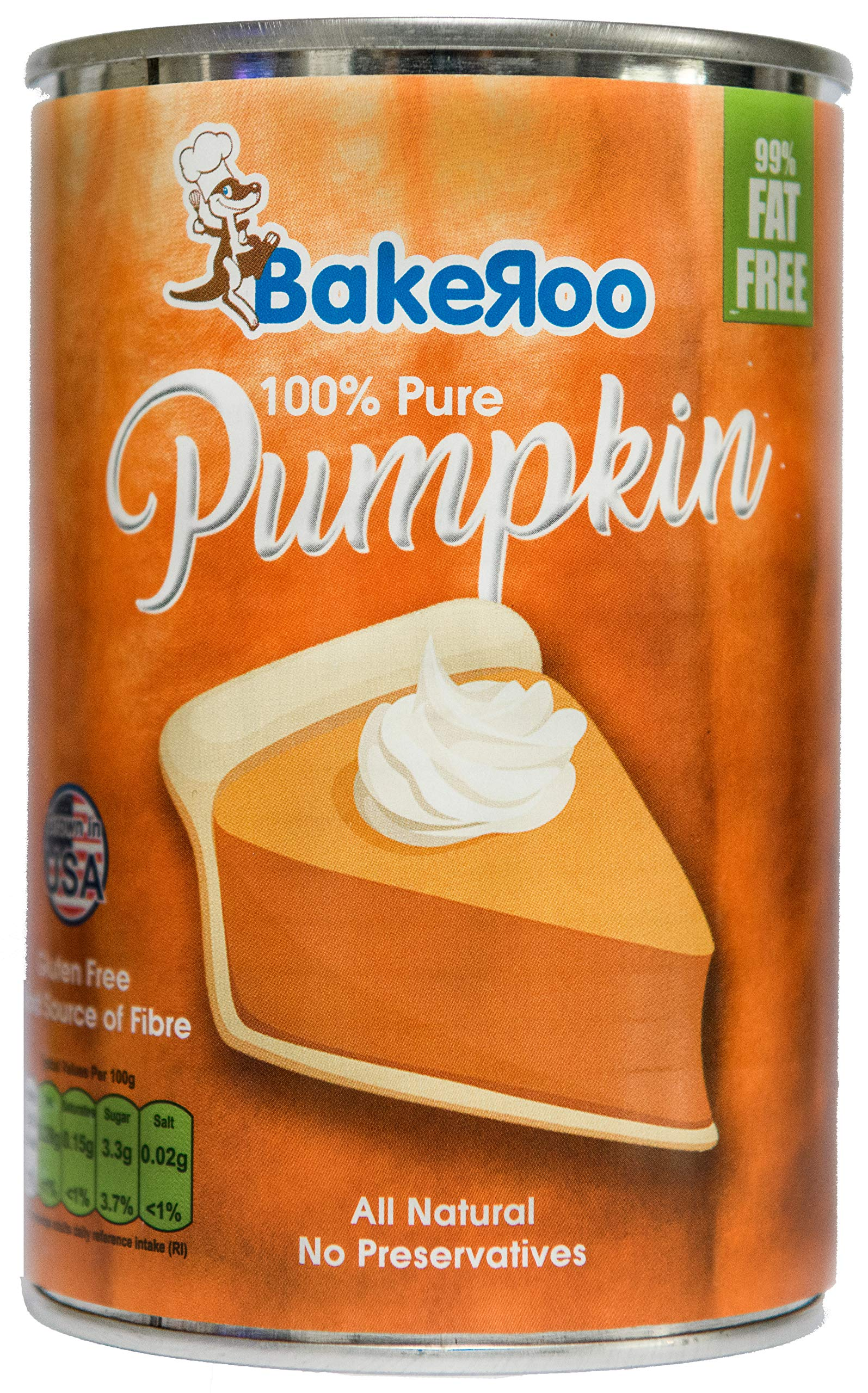 Bakeroo Tinned Pumpkin Puree (Pumpkin Pie Filling), 100% Natural - 425g