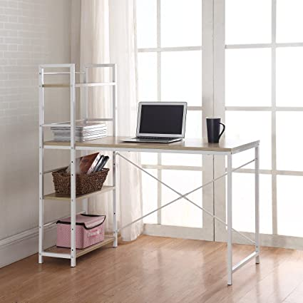 Marvelous Modern Small Work / Computer Desk With Attached Shelving (Brown / White)