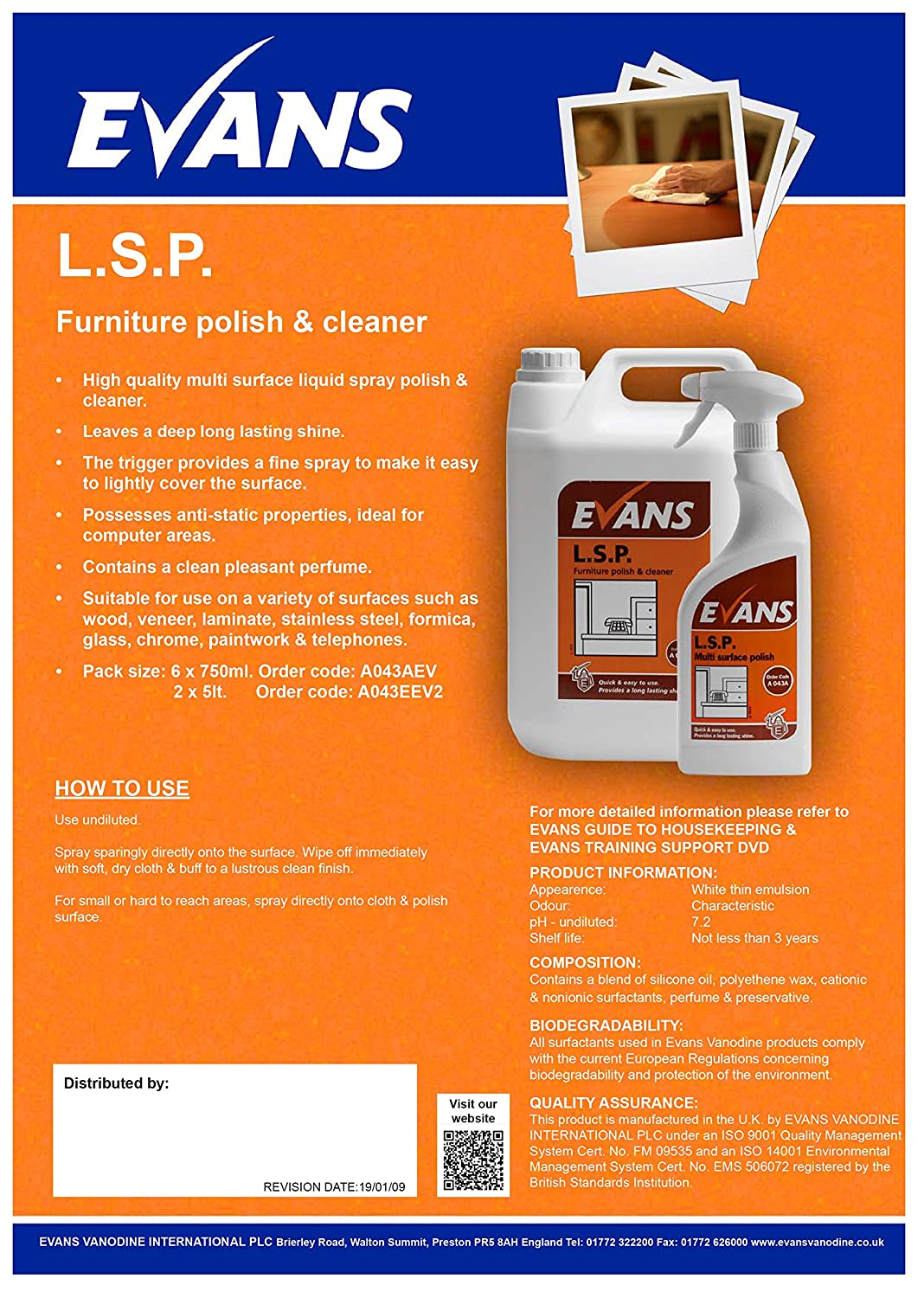 6 x Evans L.S.P. Perfumed Furniture Polish and Window Cleaner Spray Bottle 750ml Evans Vanodine