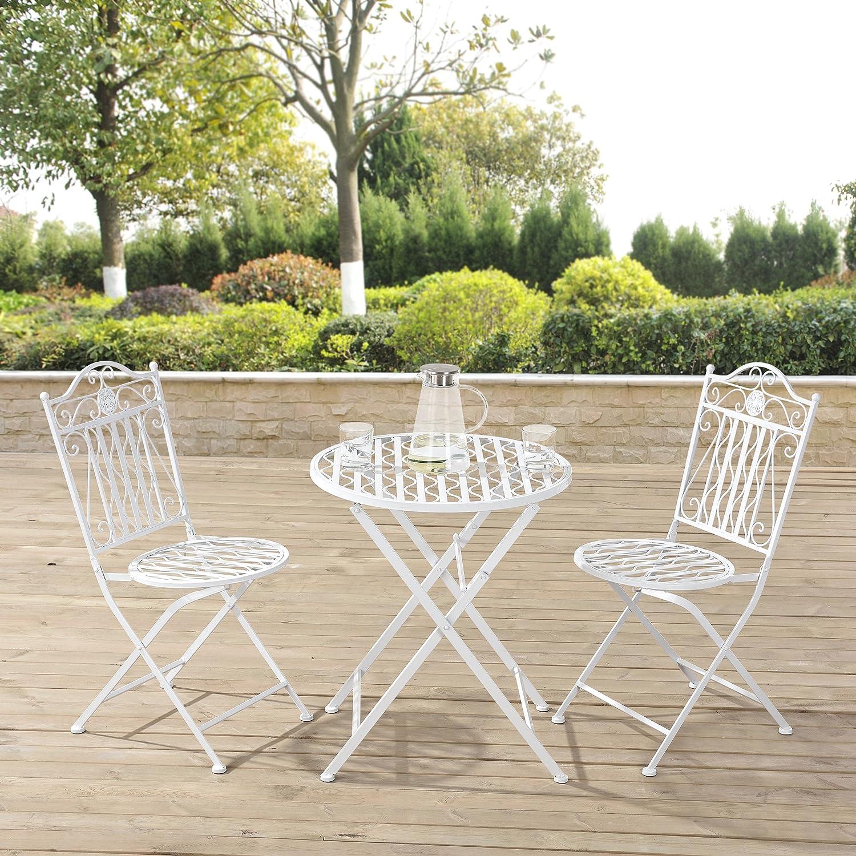 Casa Pro Gartentisch Bistro Tisch 60cm Rund Weiss Mit 2