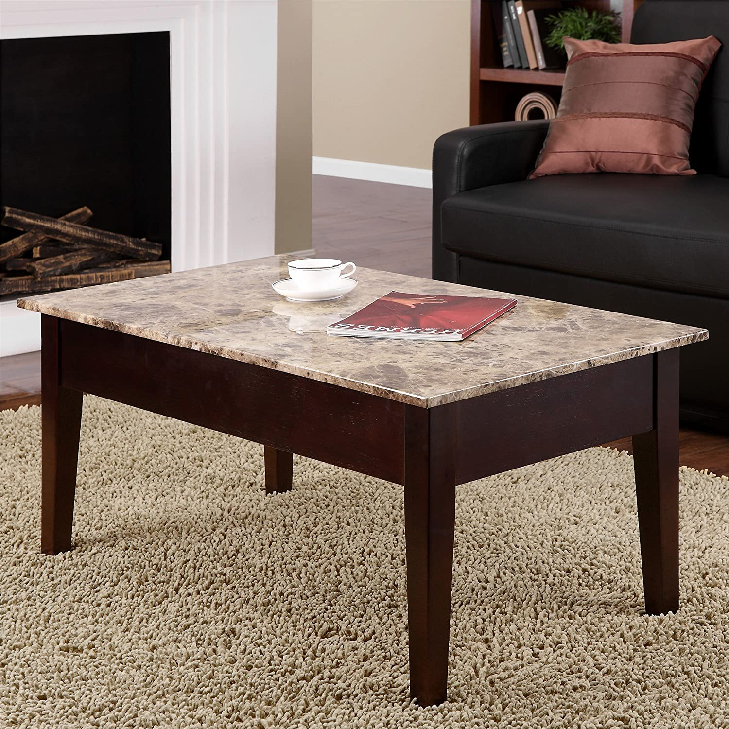 Amazon Dorel Living Faux Marble Lift Top Coffee Table