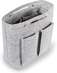 "FELFA Long Felt Tote Bag Insert For Women, Purse Organizer Inserts, Felt Insert bag Organizer, Organizer Insert For Tote, Purse Organizer Inserts For Handbags, 12.6"" high x 11"" long x 4.7"" wide"