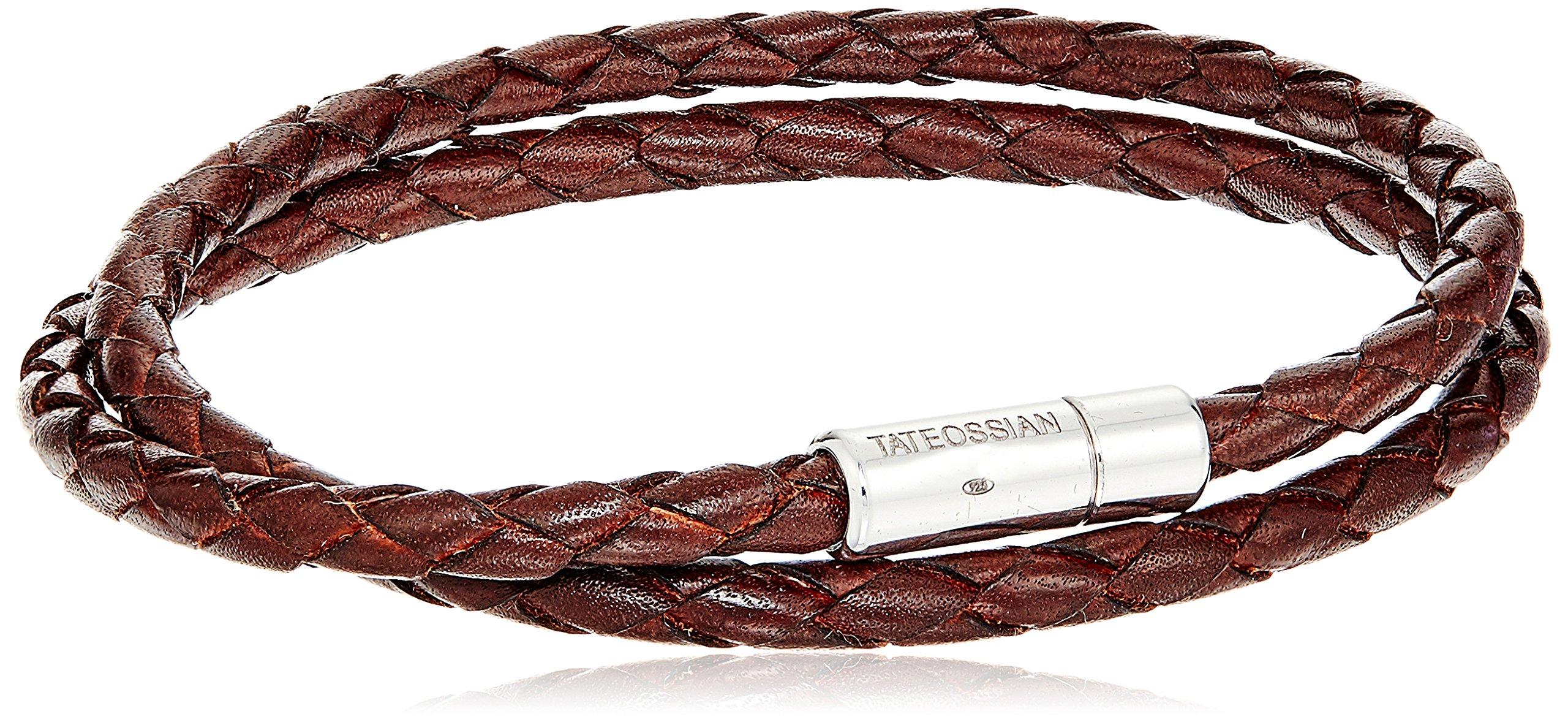 Tateossian Silver Tobacco Scoubidou Double L 41cm Bracelet