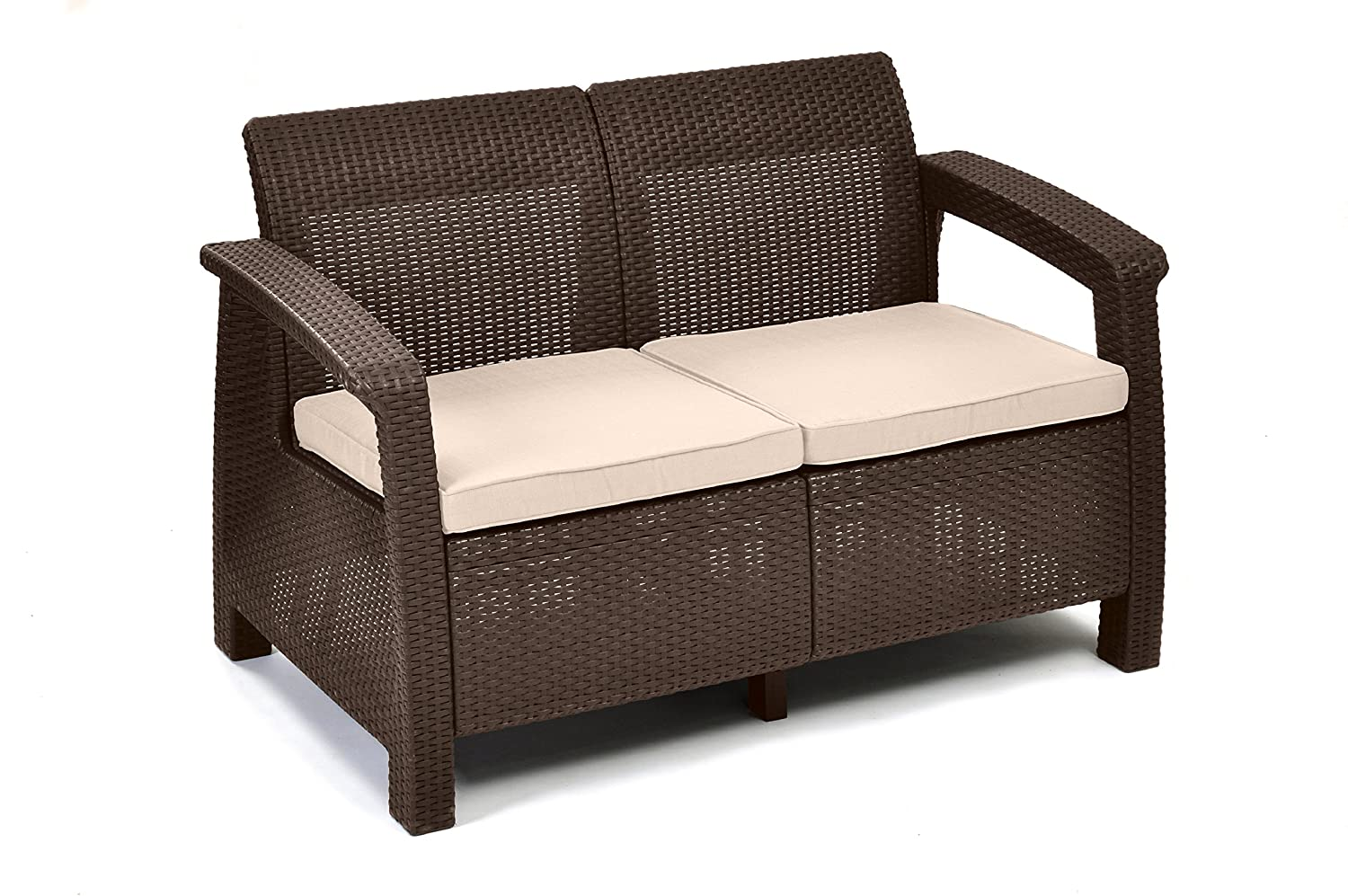 amazoncom keter corfu love seat all weather outdoor patio garden furniture w cushions brown patio loveseats patio lawn garden