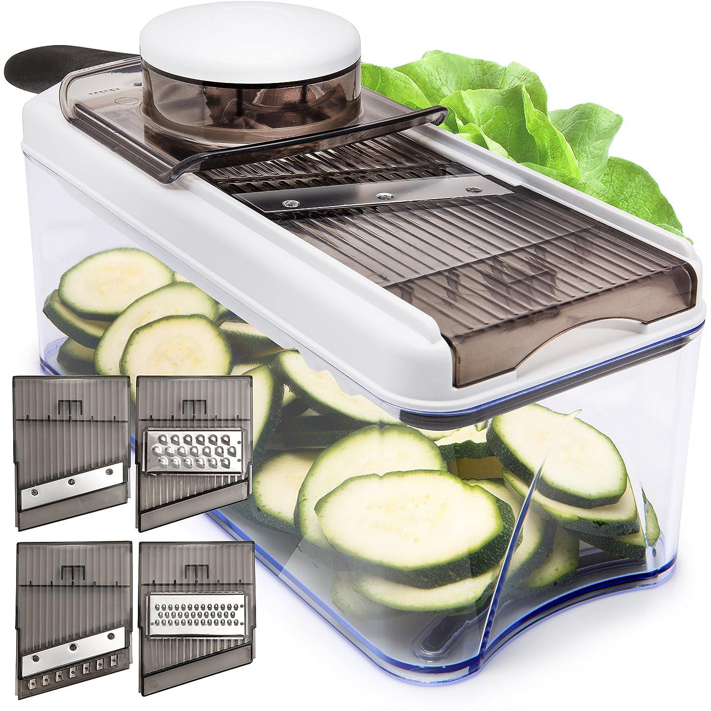 Adjustable Mandoline Slicer - 5 Blades - Vegetable Cutter, Peeler, Slicer, Grater & Julienne Slicer (Black) HomeNative SYNCHKG129208