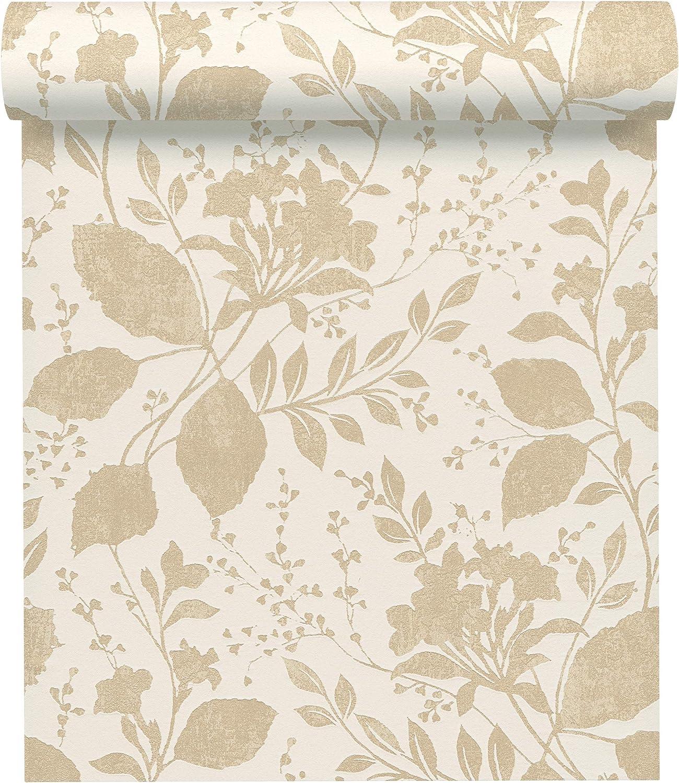 A.S Cr/éation Vliestapete Memory 3 Tapete mit Blumen floral 10,05 m x 0,53 m beige wei/ß Made in Germany 329861 32986-1