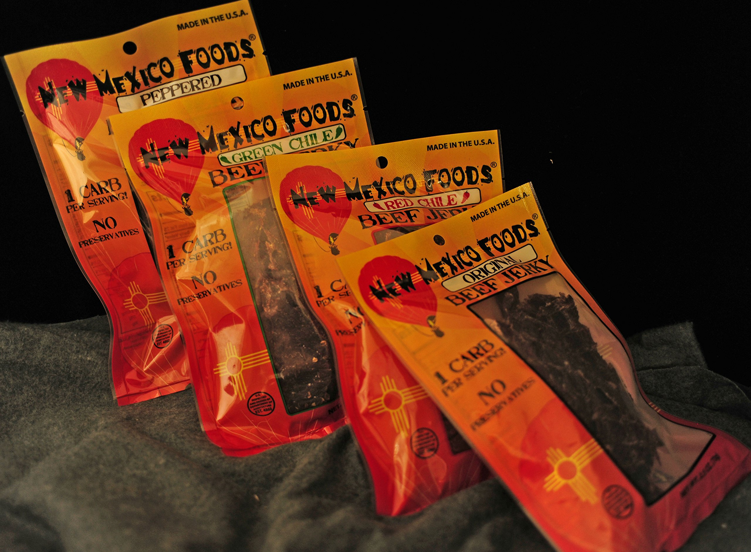 New Mexico Foods Beef Jerky 100% Natural and Preservative Free 4 Pack .8 oz. Mixed Package, Red Chile, Green Chile, Peppered, Original