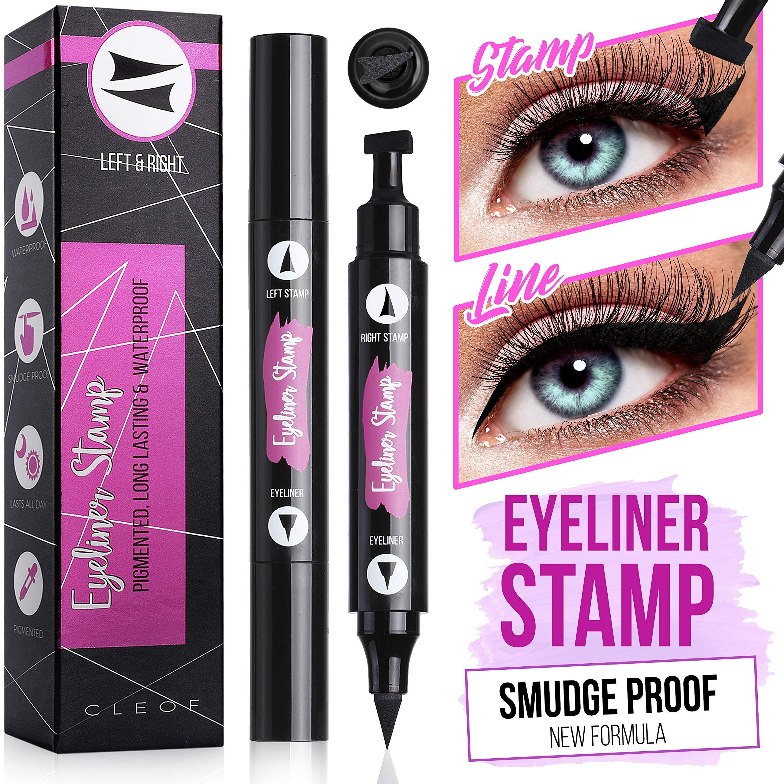 Eyeliner Stamp, Black, Waterproof, Smudge Proof, Winged Long Lasting Liquid Eye Liner Pen, Vamp Style Wing, 2 Pens in a Pack - 10 mm - Vegan & Cruelty Free Makeup by CLEOF