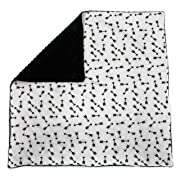 Dear Baby Gear Baby Blankets, Arrows Black on White, Black Minky