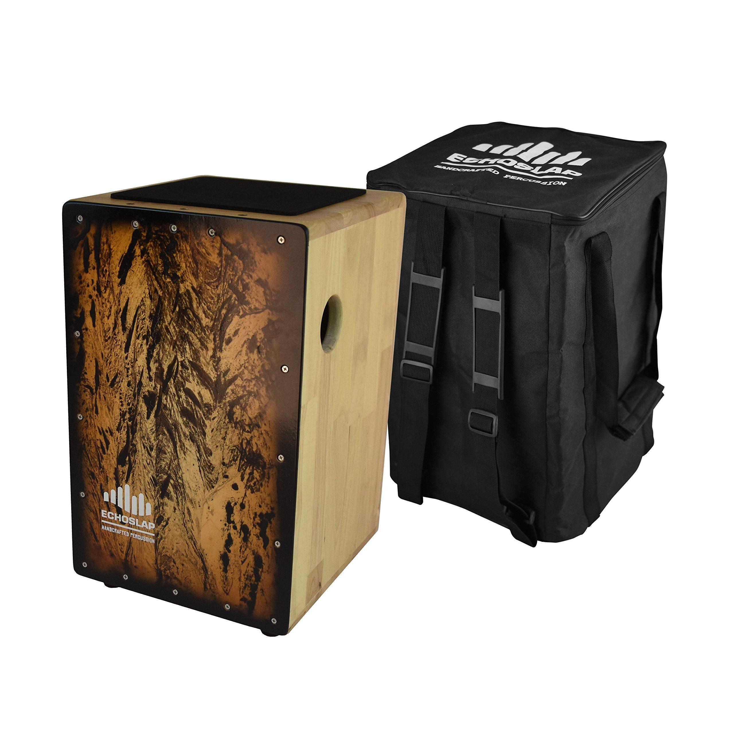 Echoslap Solid Siam Oak Bass Cajon -Smoke Frontplate, Deep Bass Tones, 3 Snare Wires for Crisp Buzz