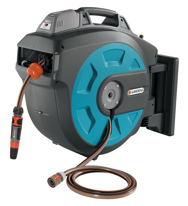 GARDENA Wand-Schlauchbox 35 roll-up automatic Li: Automatische Schlauchtrommel zur Wandmontage, Einzug über Akku per Tastendruck, 180 Grad schwenkbar, Schlauchlänge 35 m (8025-20) Bild