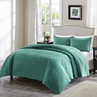 Comfort Spaces Kienna 3 Piece Quilt Coverlet Bedspread Ultra Soft Hypoallergenic Microfiber Stitched Bedding Set