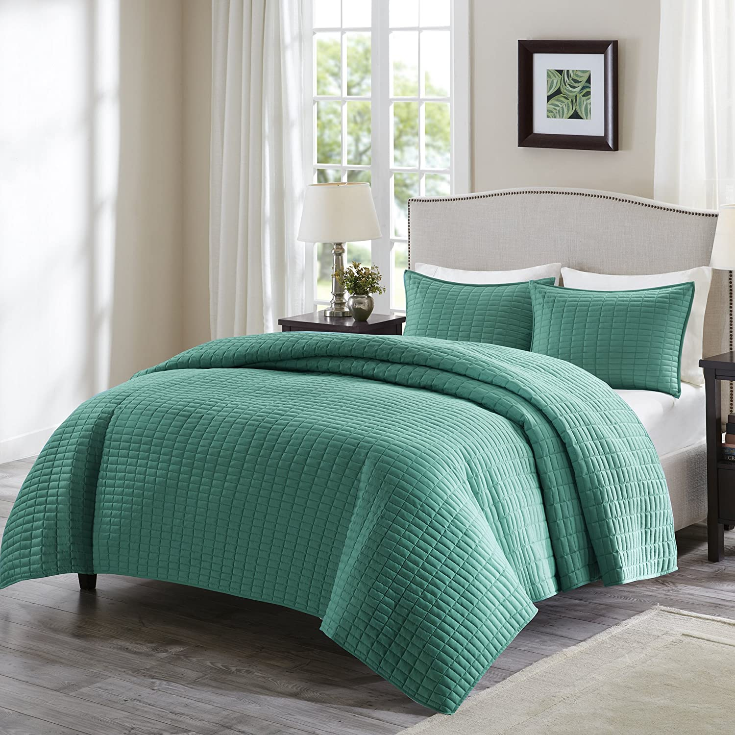 Comfort Spaces Kienna 3 Piece Queen Quilt Set Full Reversible Solid Stitch Pattern Soft Microfiber Light-Weight Coverlet Bedspread Blanket All Season Bedding, Teal