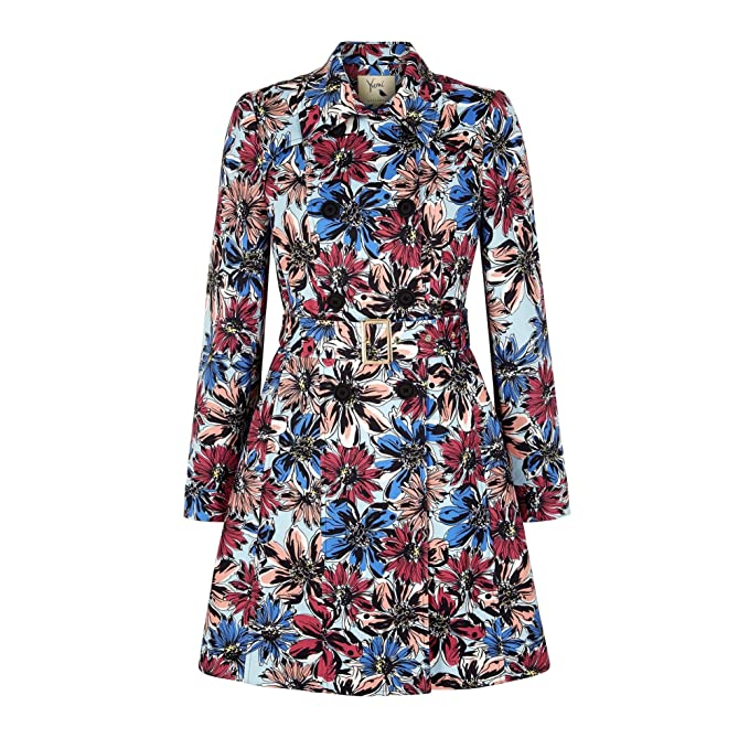 Yumi Womens/Ladies Big Flower Printed Trench Coat (4 US) (Multi Color