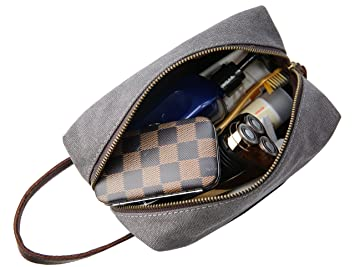 a7bb7c74ff05 Amazon.com   Iswee Men Travel Toiletry Bag Canvas Cosmetic Makeup Organizer  Shaving Dopp Kit (Gray)   Beauty
