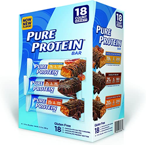 Pure Protein Bar, Chocolate Peanut Butter Salted Caramel Chocolate Deluxe, 18 Count