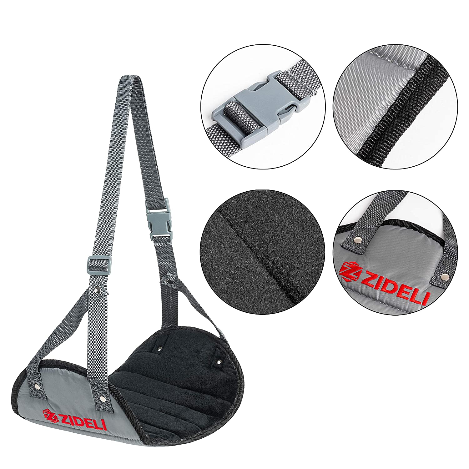 Grey Soft and Comfy Foot Hanger for Flight Bus Car Train Office Desk Reduces Foot Swelling and Back Soreness Must Have Travel Accessory ZIDELI Portable Hammock Footrest for Airplane Travel