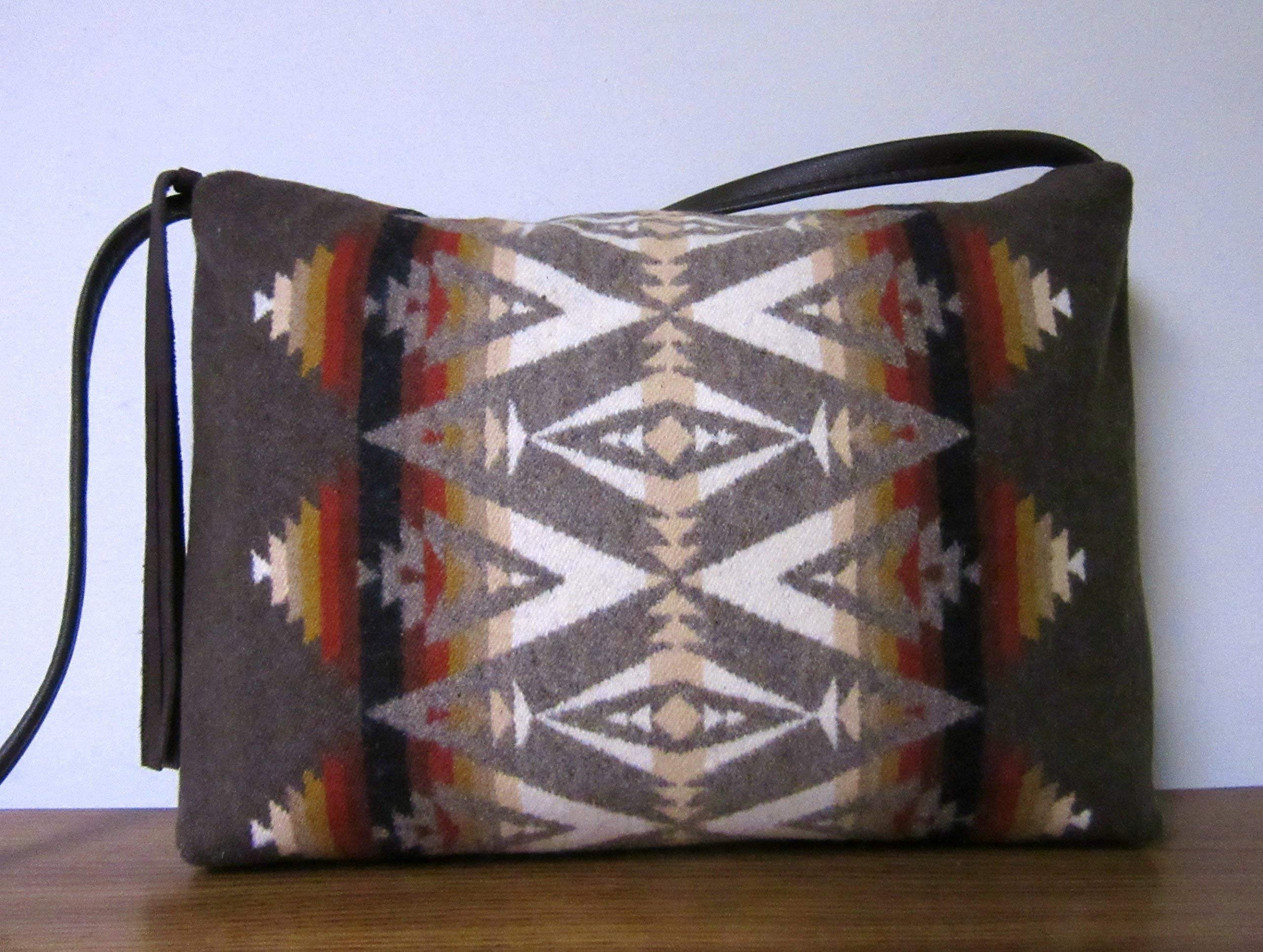 Crossbody Bag Purse Brown Leather Blanket Wool from Pendleton Oregon