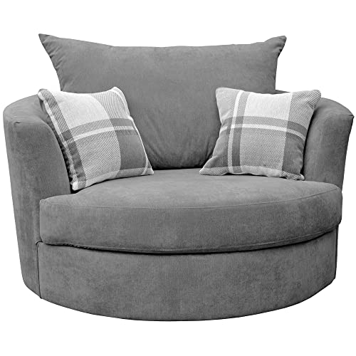 large swivel round cuddle chair fabric grey - Round Sofa Chair