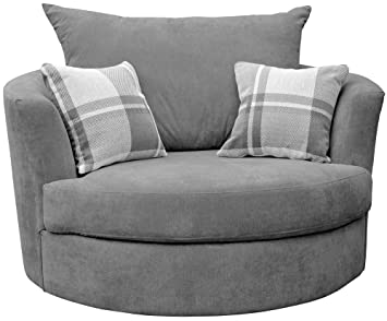 large swivel round cuddle chair fabric grey amazon co uk kitchen