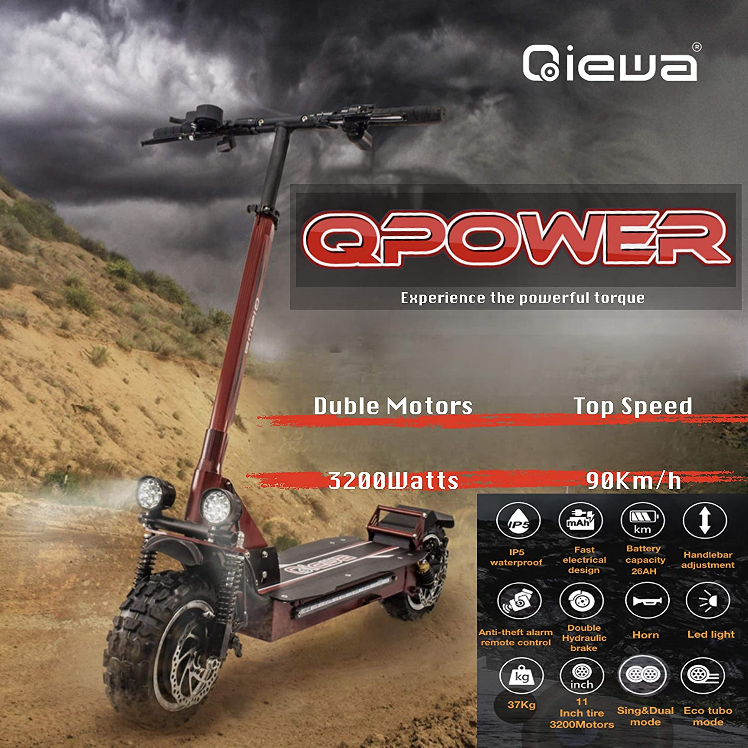 QIEWA QPOWER Duble Motors Off Road Scooter 3200Watts Duble Motor with 11-inch Off-Road Tires Max Speed up to 100Km/h Super Power Crazy Design