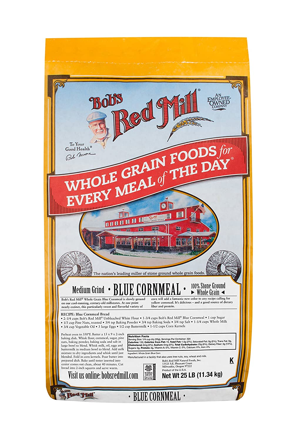 Amazon.com : Bobs Red Mill Blue Cornmeal, 25 Pound : Kitchen Aids : Grocery & Gourmet Food