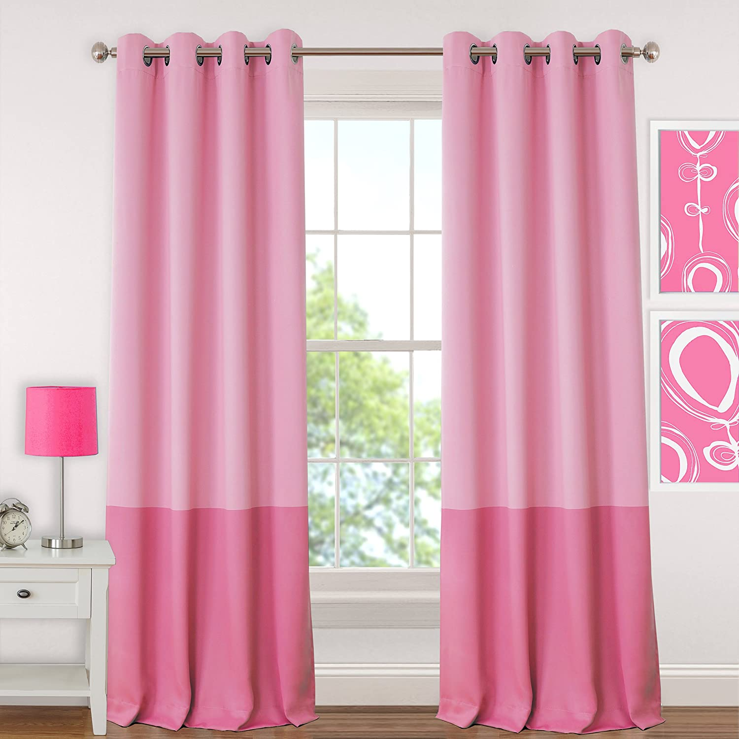 Pink 52 x 84 Elrene Home Fashions 026865901061 Juvenile Teen or Tween Blackout Room Darkening Grommet Window Curtain Drape Panel 52 x 84