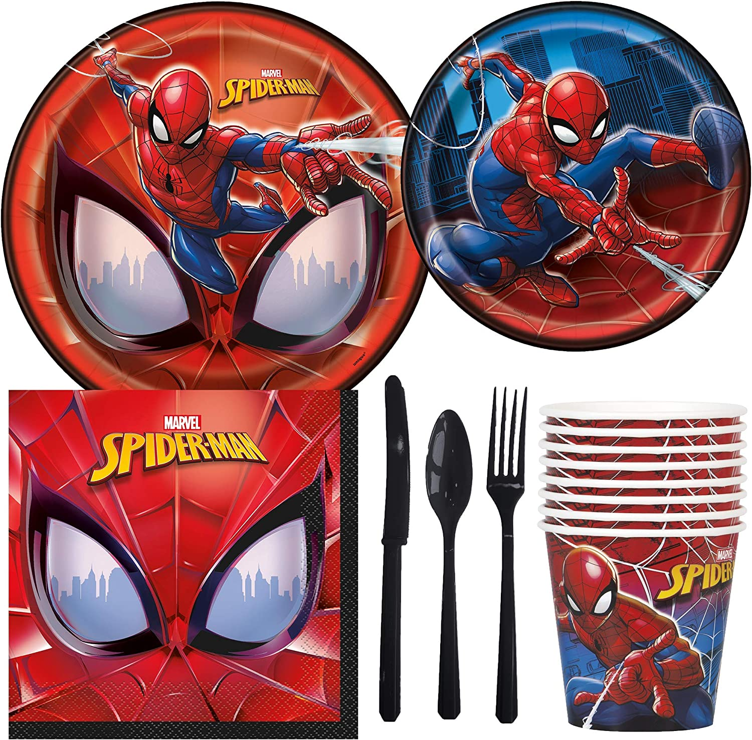 Amazon Com Marvel Spiderman Birthday Party Supplies Pack Including Cake Lunch Plates Cutlery Cups Napkins 8 Guests Toys Games