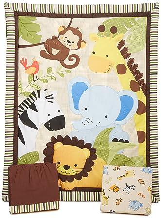 0283e6fc75cd Amazon.com   Bedtime Originals Jungle Buddies 3-Piece Crib Bedding Set -  Brown