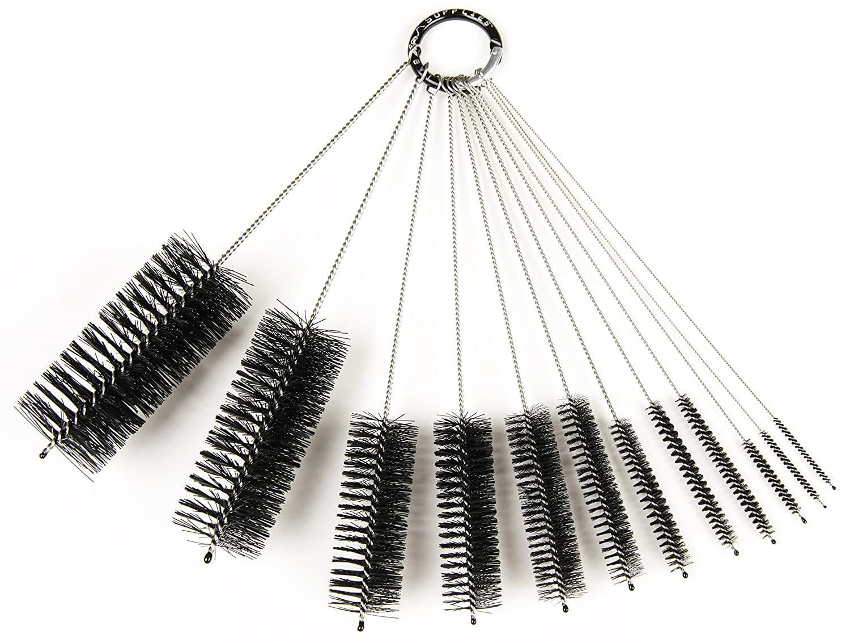 8 Inch Nylon Tube Brush Set, 12 Piece Variety Pack LabRat Supplies LRS-1280