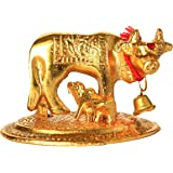 Avik Handicrafts Metal Cow and Calf Golden Small