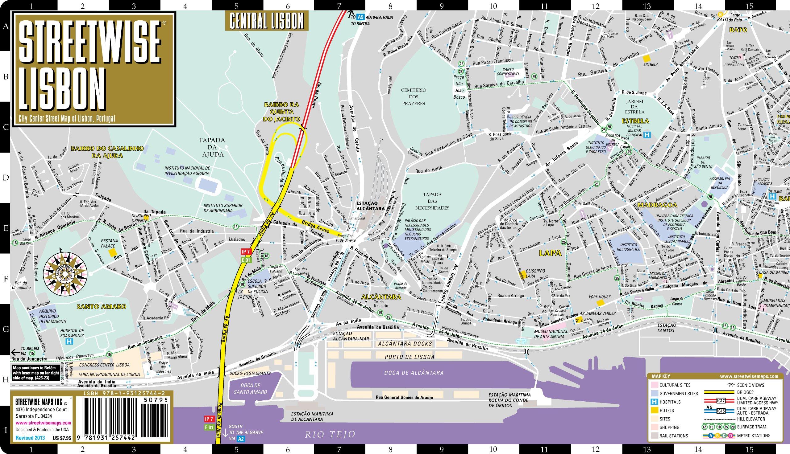 Streetwise Lisbon Map Laminated City Center Street Map Of Lisbon - lisbon map