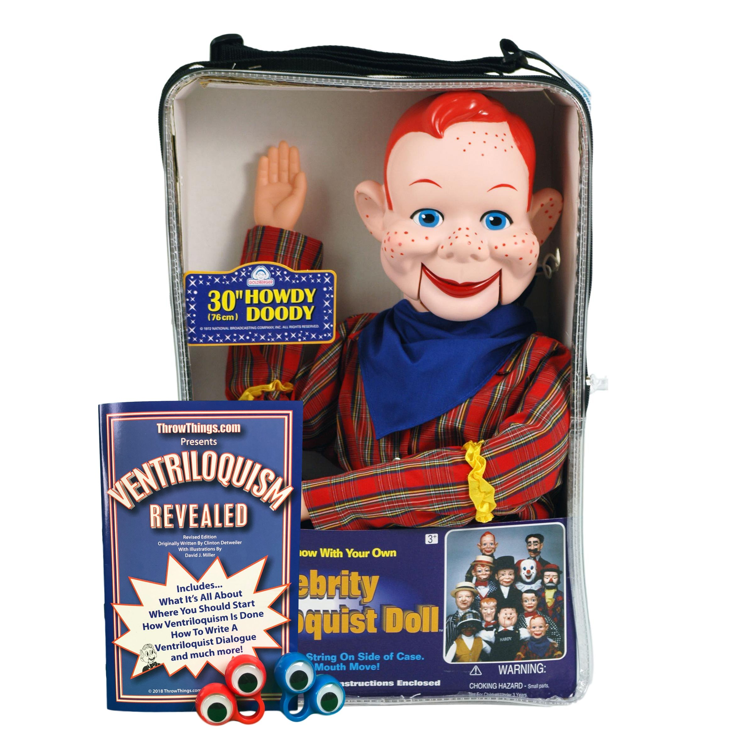 ThrowThings.com Bonus Bundle! Howdy Doody Ventriloquist Dummy Doll PLUS Ventriloquism Revealed Booklet PLUS Two Finger gEyes