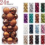 "KI Store 24ct Christmas Ball Ornaments Shatterproof Christmas Decorations Tree Balls for Holiday Wedding Party Decoration, Tree Ornaments Hooks included 2.36"" (60mm Bronze)"