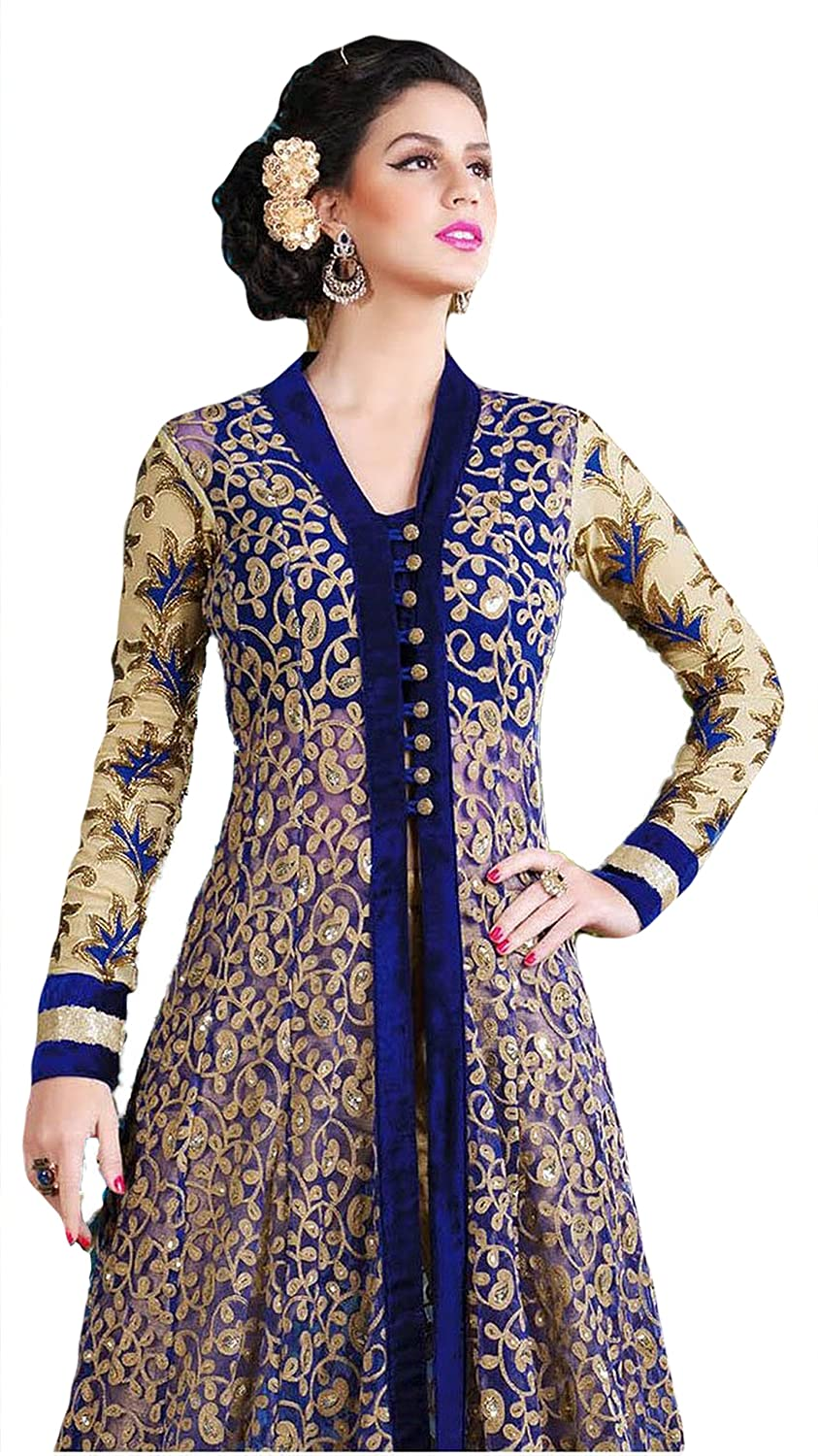 Justkartit Women\'s Blue Colour Zari Embroidery Long Floor Length ...
