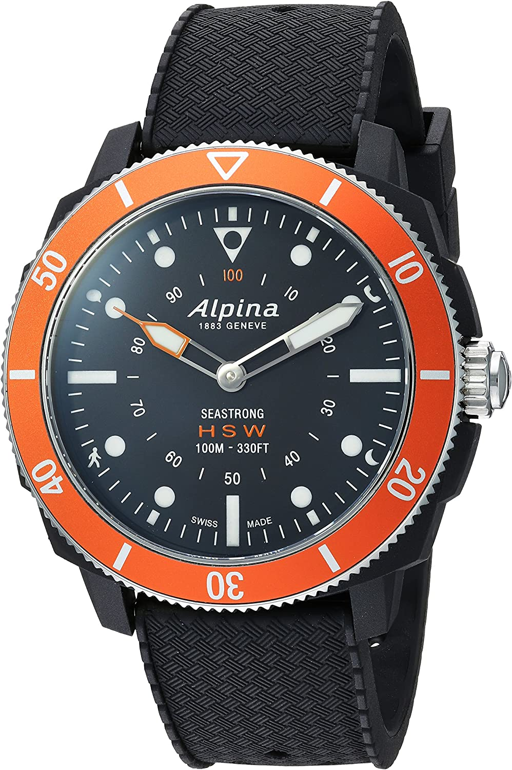 Alpina Men s AL-282LBO4V6 Horological Smart Watch Analog Display Quartz Black Watch