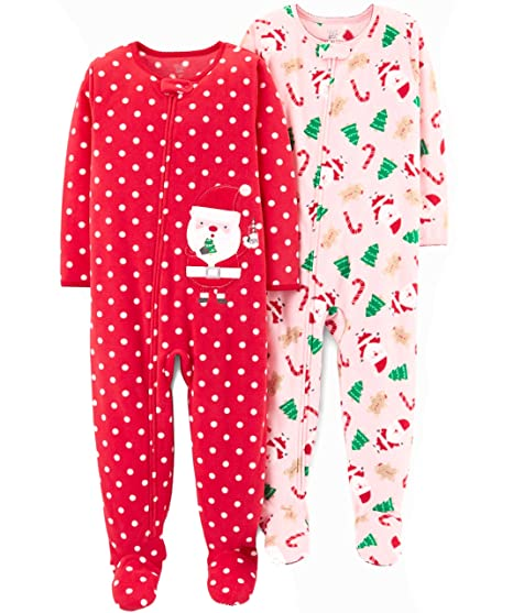 04a19534d9 Carter s Just One You Toddler Girls 2 Pack Fleece Santa Polka Dots Footed  Pajama Set (