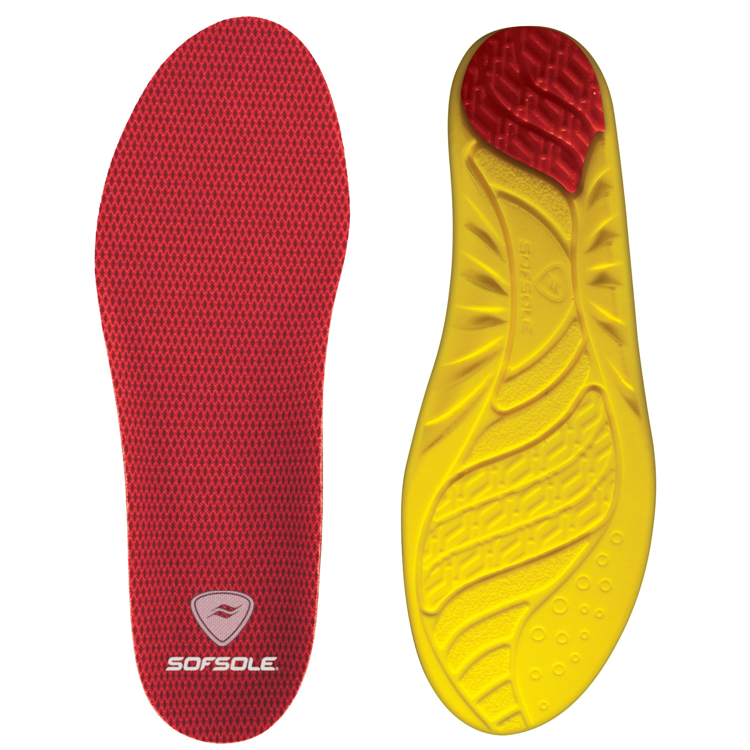 Sof Sole Insoles Men's High Arch Performance Full-Length Foam Shoe Insert, Men's 7-8.5 Red