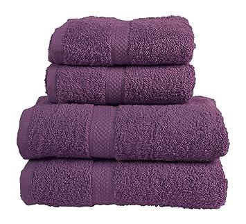 Dreamscene 100% algodón egipcio 4 piezas Juego de toalla de baño, toallas de baño, color morado: Amazon.es: Hogar