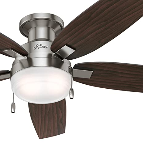 Hunter fan 52 contemporary ceiling fan in brushed nickel with hunter fan 52quot contemporary ceiling fan in brushed nickel with integrated cased white light kit mozeypictures Choice Image